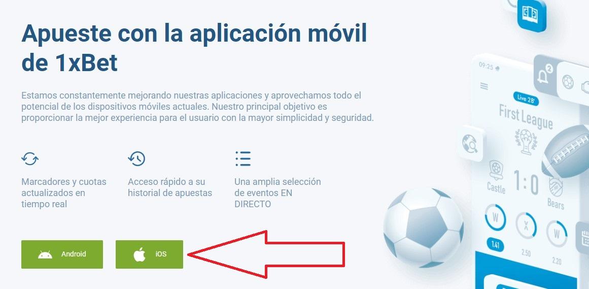 instalar app 1xBet ios